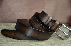 Men's Belt Dark Brown Cowhide Leather Belt Distressed Belt Tree Bark Grain Effect Leather Belt by SherryJewelry, $27.00