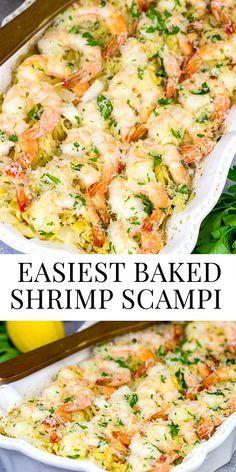 Baked Shrimp Recipes, Best Seafood Recipes, Shrimp Recipes For Dinner, Main Meal Recipes, Italian Shrimp Recipes, Baked Shrimp Scampi, Shrimp Scampi Recipes, Shrimp Bake, Healthy Shrimp Scampi