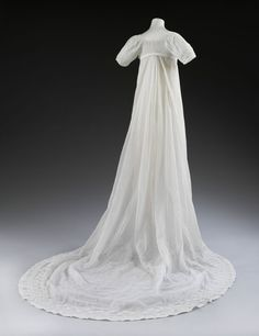 This dress was worn by 17 year old bride, Mary Dalton Norcliffe who married Dr. Charles Best at the church of Saint Michael-Le-Belfry in York on 11 June 1807. Find out more: http://collections.vam.ac.uk/item/O1261897/wedding-dress-unknown/