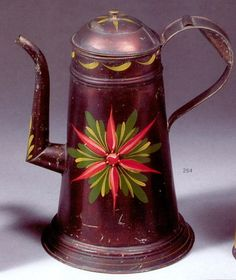 A Fine & Rare Black-Painted Gooseneck Spout Tinware Coffee Pot, Probably Pennsylvania, Circa 1835 - The 'Lighthouse' form pot with domed hinged lid and brass finial with yellow sunburst and scallop motifs above a tapering body with shaped base, the sides with red, green and yellow 'poinsettia' starburst. The spout with yellow leaf decoration, has applied strap handle; all on black asphaltum ground. Height 11in.