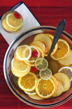 This fuss-free white wine punch recipe, similar to a sangria, can be made year-round using seasonal fruit.