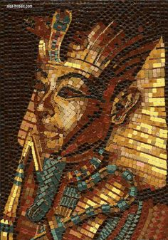 Pharao, Halbprofila | aleamosaic translation into mosaic, using over 3000 pieces, with micro tiles > ½ CM x ½ CM , NOT grouted. NOT a mural, just 20x28 CM,