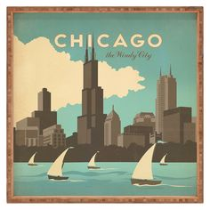 Chicago, the Windy City. Did you know that Chicago was named the Windy City because of it's politicians and their long-winded speeches? Old Poster, Gropius Bau, Arte Peculiar, Chicago Poster, Chicago Art, Kunst Poster, Plakat Design, Chicago Skyline, Skyline Art