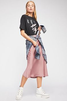 Slide View 2: Normani Bias Skirt Pink Midi Skirt, Satin Midi Skirt, Silk Skirt, Pink Skirt Outfits, Midi Skirt Outfit, Spring Outfits, Dress Skirt, Winter Outfits, Fall Skirts