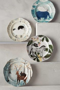 Serve your next dessert with a side of whimsical artwork with these plates by artist Rebecca Rebouche. $14