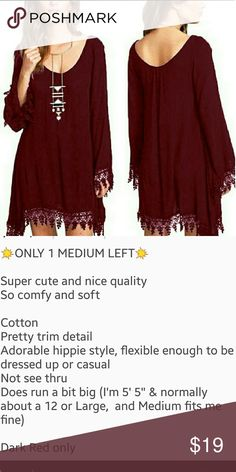 LADIES FREE STYLE TUNIC/MINI DRESS Super cute, comfortable and versatile Nice fabric and lovely deep red Dresses Mini