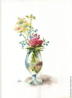 Купить Хмельная - разноцветный, полевые цветы, акварель, акварельная картина…