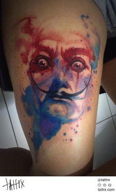 Watercolor tattoo by Victor Octaviano. Salvador Dali Tattoo, Skin Candy, Special Tattoos, Jewelry Tattoo, Watercolor Art, Watercolor Tattoos, Tattoo Designs, Tattoo Ideas, Tattoo Artists
