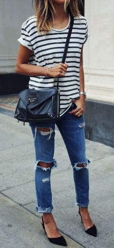 Teenage Fashion Blog: Stripes and Ripped with Black Heels | Causal Stree...