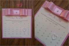 Pale Pink Save The Date...way too girly, but I like pink save the date cards.