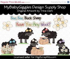 50 OFF SALE Baa Baa Black Sheep Spring Clip Art by mybabygiggles, $2.50