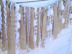 Burlap and white pom pom wedding garland by MirtilloShop on Etsy, $30.00