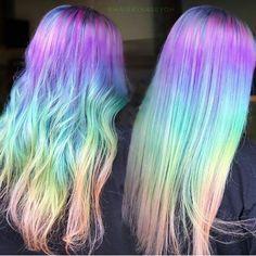 Subdued rainbow hair