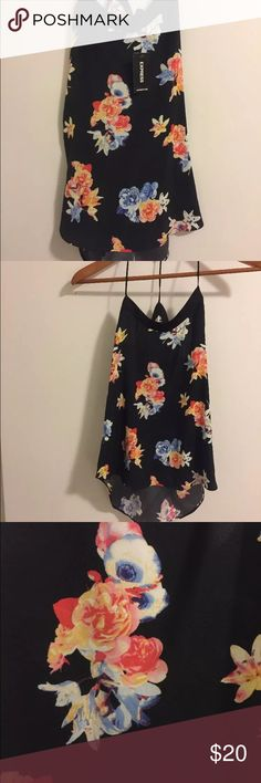 Express Black Flowy Floral Tank NWT Tag is still on! The straps make a Y-shape. Very flowy Express Tops Tank Tops