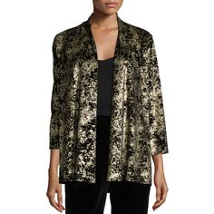 Caroline Rose Luminous Velvet Cardigan ($230) ❤ liked on Polyvore featuring tops, cardigans, black top, black open front cardigan, open front cardigan, black cardigan and caroline rose