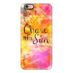 iPhone 6 Plus/6/5/5s/5c Case - CHASE THE SUN, Colorful Sunshine Sky... ($40) ❤ liked on Polyvore featuring accessories, tech accessories, iphone case, apple iphone cases, iphone cover case, slim iphone case and pink iphone case