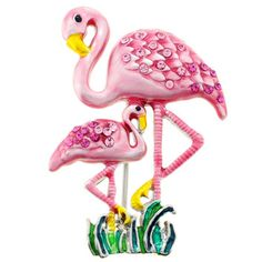 This quirky pin brooch features a funky flamingo design made of round-cut crystals. This pin features an antique finish and secures with a pin clasp. Metal: Base Metal Style: Brooch Gemstone colors: P