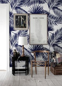 Tropical palm leaf wallpaper in navy blue // interior design // interior decor Palm Leaf Wallpaper, Tropical Wallpaper, Tree Wallpaper, Coastal Wallpaper, Large Print Wallpaper, Stick On Wallpaper, Feature Wallpaper, Beach Wallpaper, Kids Wallpaper