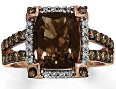 Chocolate Quartz Ring (Diamonds 14K Gold)