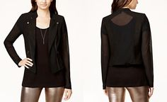 Material Girl Juniors' Illusion Glitter Moto Jacket, Only at Macy's