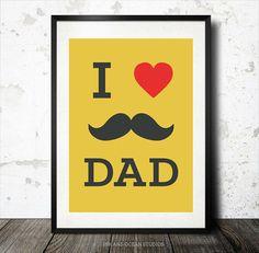 "Father Print ""I love Dad"" Downloadable Art Print"