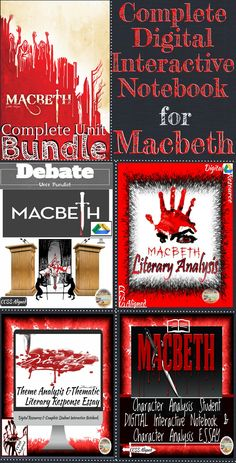This Complete Macbeth Unit Combines four complete products to create a comprehensive teaching for Shakespeare's Macbeth. Complete digital (and printable) student interactive notebook is over 160 pages in length. There are over 100 teacher slides for introducing and teaching each unit!