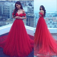 8da62552207cf All Red Prom Dresses 2017 Off The Shoulder Tulle Beaded Long Ball Gown  Evening Dress Lace Up Arabic Pageant Party 2016 Custom Made Prom Dress  Shops Uk Prom ...