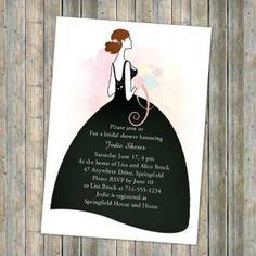 Elegant printable wedding dress bridal shower invitations online EWBS050 #elegantweddinginvites
