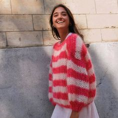 Have a nice week ♡ Knitting Projects, Knitting Patterns, Mode Outfits, Striped Knit, Fashion Killa, Pulls, I Dress, Dress To Impress, Lana