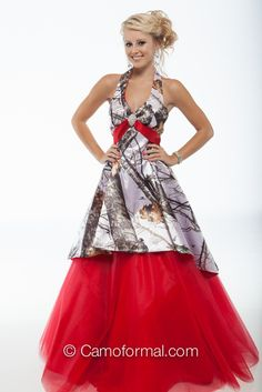 Camo halter with circle ball gown skirt