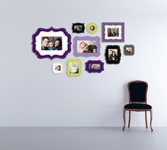 Gorgeous purple and lime green wall display!  | Frames via The Organic Bloom