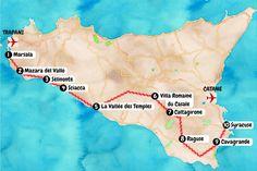 Carte touristique du sud de la Sicile.