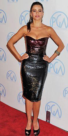 SOFÍA VERGARA    La colombiana mostró sus curvas y escote en los Premios del Gremio de Productores, que se celebraron  en Beverly Hills. La estrella de Modern Family (ABC) llevó un ajustado diseño de Monique Lhuillier en lentejuelas, zapatos peep toe Stuart Weitzman y aretes y una pulsera Amrapali.