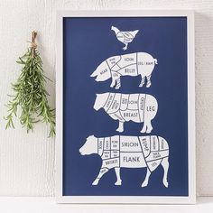 A mouthwatering centrepiece for the family kitchen, this contemporary kitchen print of butcher's meat cuts is perfect for dad or a gourmet chef! £26.00