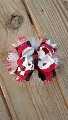 Ladybug Hair BowLadybugBirthday BowRed Black by SpoiledBratz, $9.99