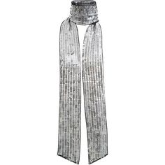 Silver Sequin Skinny Scarf ($4.99) ❤ liked on Polyvore featuring accessories, scarves, silver shawl, sequin scarves, sequin shawl and silver scarves