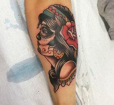 Traditional gypsy sugar skull girl tattoo
