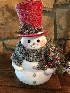 Snowman named Harrison Harrison is a traditional looking snowman. He is dressed in a red velvet top hat and herringbone wool scarf. Harrison is approx. Christmas Decoration Items, Handmade Christmas Crafts, Christmas Projects, Holiday Crafts, Christmas Snowman, Simple Christmas, Christmas Diy, Christmas Ornaments, Sock Snowman Craft