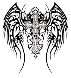 Are you assuming about getting tribal wings tattoos inked on your skin? Read on to get ideas about the best kind of tribal wings tattoo designs. We are seeing that tribal wing tattoo has become quite popular amongst people who love tribal tattoo art. Tribal Cross Tattoos, Tribal Wings, Celtic Cross Tattoos, Art Tribal, Tribal Tattoos For Men, Cross Tattoo Designs, Tattoo Designs Men, Tattoos For Guys, Tribal Tiger