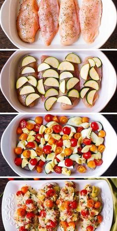 Baked Vegetables, Chicken And Vegetables, Italian Vegetables, Veggies, Chicken And Vegetable Bake, Italian Chicken Bake, Vegetable Snacks, Chicken Zucchini, Healthy Chicken