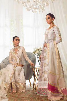 Annus Abrar - Women's clothing Designer. Floria How To Iron Clothes, Silk Pants, Silk Thread, White Fabrics, Lace Detail, Hemline, Sari, Clothes For Women, Cloths