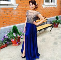 Prom Dress,Sexy Elegant Sheer Prom Dress, Beaded Cap