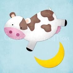 The Cow jumped over the Moon Digital Clipart by CollectiveCreation, $4.00