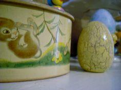 vintage tin with bunny fun!