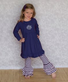 Look at this Princess Linens Navy Monogram Dress & Ruffle Pants - Infant, Toddler & Girls on #zulily today!