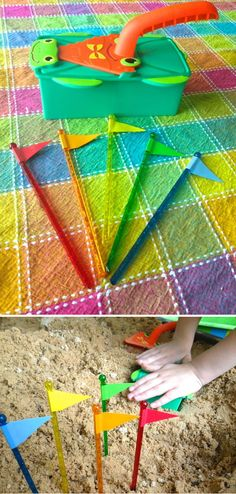 {Simple Sand Castle Flags} *Wrap some colored electrical tape around some swizzle sticks to form the flags, and then trimmed the tape with scissors. *So simple! Free Activities For Kids, Games For Kids, Diy For Kids, Early Learning, Fun Learning, Backyard Play, Outdoor Play, Preschool Summer Camp, Projects For Kids