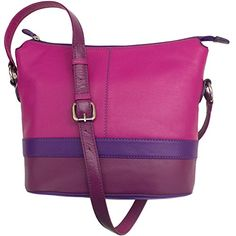 ili Leather Color Block Shoulder Handbag (Very Berry) >>> See this great product.