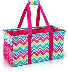 Amazon.com: Extra Large Utility Tote Bag - Oversized Collapsible Reusable Wire Frame Rectangular Canvas Basket With Two Exterior Pockets For Beach, Pool, Laundry, Car Trunk, Storage - Chevron Multi: Shoes Diaper Bag Backpack, Tote Bag, Teacher Tote, Work Tote, Tote Storage, Craft Storage, Large Utility Tote, Beach Canvas, Produce Bags