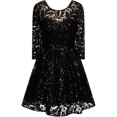 Chi Chi London Sequin lace skater party dress ($98) ❤ liked on Polyvore featuring dresses, black, women, party dresses, black knee length dress, little black cocktail dresses, lace dress and sequin cocktail dresses