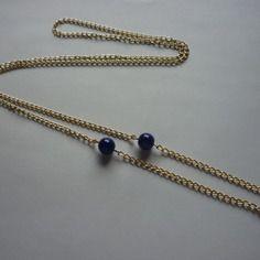 Sautoir collier chaîne doré or et perles bleues